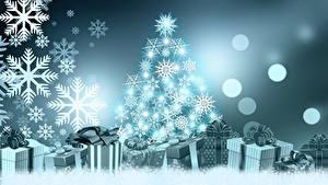 Фотографии Новый год Елка Снежинка Подарки Бантик