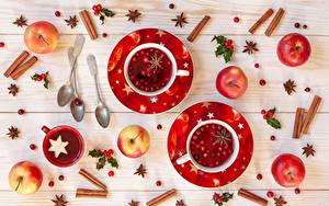 Картинки Рождество Корица Яблоки Чашке Ложки Блюдце Продукты питания