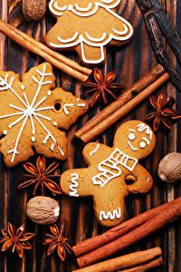 Обои для рабочего стола Новый год Корица Бадьян звезда аниса Печенье Грецкий орех Еда