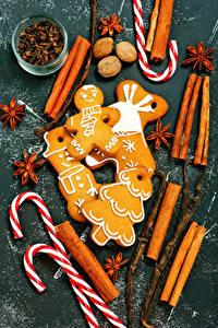 Картинка Рождество Корица Бадьян звезда аниса Орехи Печенье Сладости