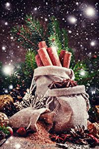 Фотография Рождество Корица Бадьян звезда аниса Снег Шишки Пища