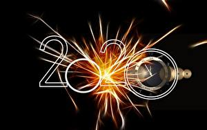 Фото Новый год Часы Черный фон 2020