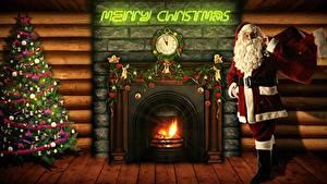 Картинки Рождество Часы Огонь Камин Английский Новогодняя ёлка Санта-Клаус Подарки Борода Очки