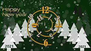 Фото Новый год Циферблат 2021 Елка Слова Английская