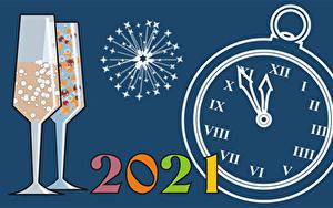 Картинка Рождество Циферблат Салют 2021 Бокал