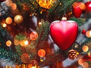 Фото Новый год Вблизи Сердце На ветке