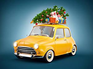 Фотография Новый год Цветной фон Елка Подарки Автомобили