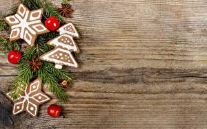 Картинки Новый год Печенье Яблоки Доски Ветки Дизайн Елка Шаблон поздравительной открытки Снежинки