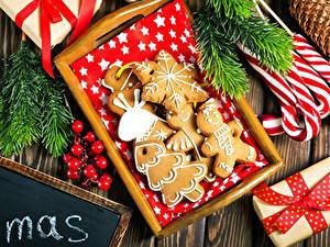 Фотография Рождество Печенье Ягоды Сладости Дизайн
