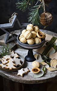 Фото Рождество Печенье Ветвь Дизайна Новогодняя ёлка Звездочки Пища