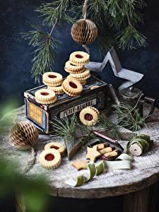 Фотографии Рождество Печенье Ветвь Звездочки Пища