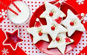 Обои Рождество Печенье Коктейль Тарелка Дизайн Снежинки Звездочки Стакан Пища