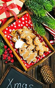 Фотографии Рождество Печенье Дизайн Шишки Ветки Пища