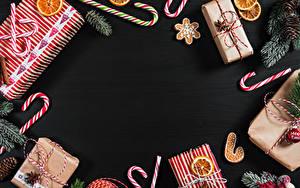 Обои Новый год Печенье Леденцы Шаблон поздравительной открытки Подарков