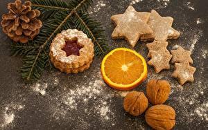 Фотографии Новый год Печенье Орехи Сахарная пудра Шишки Звездочки Ветки Продукты питания