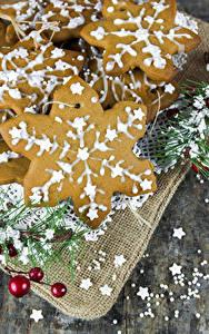 Фотографии Рождество Печенье Снежинка Пища