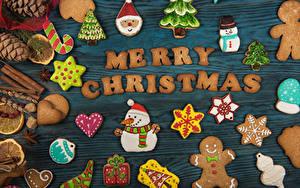 Картинки Рождество Печенье Доски Английский Шишки Дизайн Снеговики Снежинка Пища