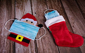 Фото Рождество Коронавирус Маски Доски Носки Санта-Клаус