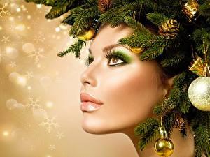 Обои Рождество Оригинальные Лица Мейкап Ветвь Фотомодель девушка