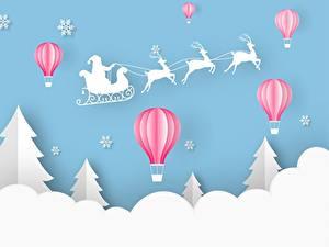 Фото Новый год Олени Дед Мороз Сани Ель Воздушный шар