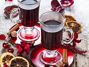 Обои Рождество Напитки Корица Кружка Двое Продукты питания