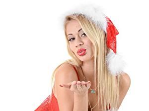 Фотография Рождество Пальцы Украшения Шапки Блондинка Руки Маникюр Кольцо Девушки