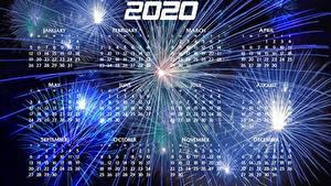 Обои для рабочего стола Рождество Фейерверк Календаря 2020