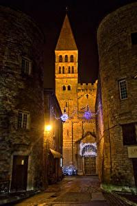 Картинки Рождество Франция Дома Улица Уличные фонари Tournus Burgundy Города