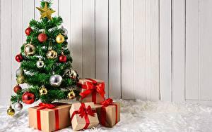 Фотография Рождество Подарок Коробки Новогодняя ёлка Шар