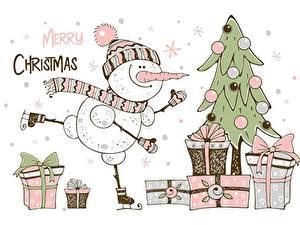 Фото Новый год Подарки Елка Слово - Надпись Английский Снеговики Коробка