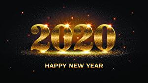 Обои Новый год Сером фоне 2020 Английская