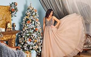 Фото Рождество Праздники Елка Шатенка Платье