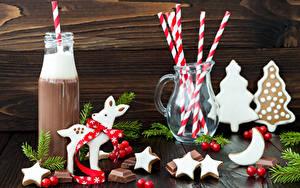Фотографии Новый год Горячий шоколад Печенье Сладости Шоколад Олени Бутылка Кувшины Звездочки Продукты питания