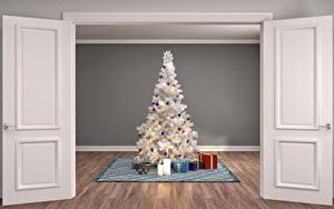 Картинки Рождество Интерьер Свечи Дверь Новогодняя ёлка Подарки 3D Графика