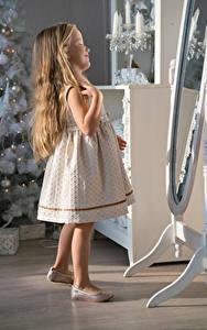 Фотографии Рождество Девочки Волосы Платье Зеркала Дети