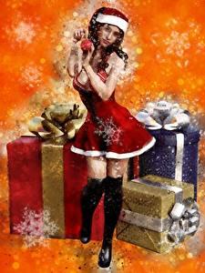 Картинки Новый год Рисованные Подарки Снежинки Шапки Униформа Девушки