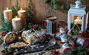 Обои Рождество Выпечка Свечи Натюрморт Ветвь Ложка Пища