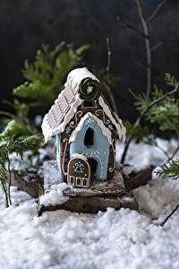 Фотография Рождество Выпечка Дома Дизайна Снеге Gingerbread house Продукты питания
