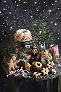 Фотография Новый год Выпечка Кекс Печенье Леденцы Ягоды Натюрморт Дизайн Еда