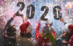Картинка Рождество Люди 2020 Рука Вид сзади Конфетти