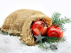 Фотография Рождество Гранат Снега Звездочки Ветвь