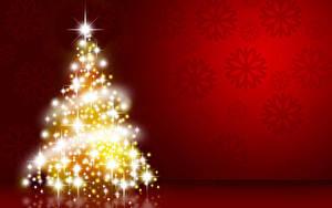 Картинка Рождество Красный фон Новогодняя ёлка Электрическая гирлянда