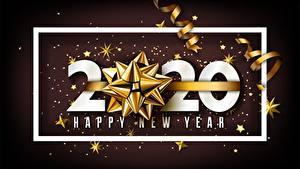 Картинка Новый год Лента Бантик Слово - Надпись Английская 2020