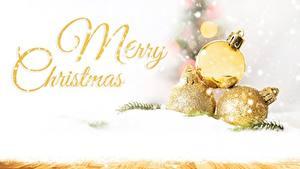 Фотография Новый год Снег Шарики Слово - Надпись Английский