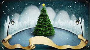 Фотография Новый год Снеге Уличные фонари Елка Шаблон поздравительной открытки