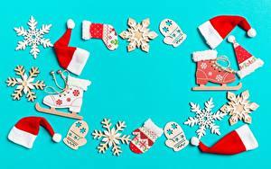 Картинки Рождество Снежинка Коньках Шапка Рукавицы Шаблон поздравительной открытки