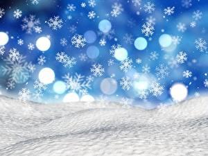 Обои для рабочего стола Рождество Снежинки Снега