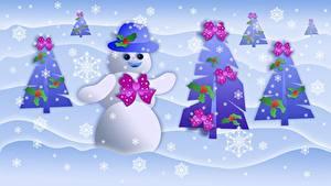 Обои Новый год Снежинки Снеговики Новогодняя ёлка Бантик Шляпа
