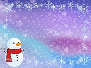 Картинка Рождество Снежинки Снеговик Шаблон поздравительной открытки