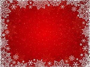 Фотографии Новый год Снежинки Шаблон поздравительной открытки Красный фон